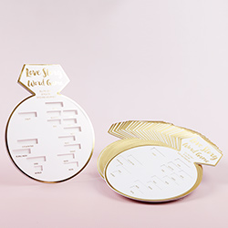 White Bridal Shower Game Card with Gold Foil - Ring Shape (Set of 30)