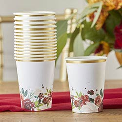 Burgundy Blush Floral 8 oz. Paper Cups (Set of 16)