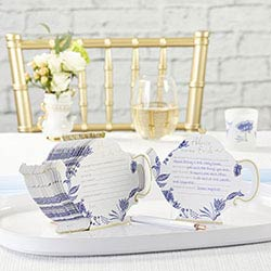 Blue Willow Wedding Advice Cards - Teapot (Set of 50)