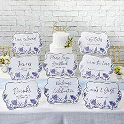 Blue Willow Party Decor Sign Kit (Set of 8)