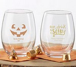 Personalized 9 oz. Stemless Wine Glass - Halloween