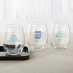Personalized 15 oz. Stemless Wine Glass - Celebration