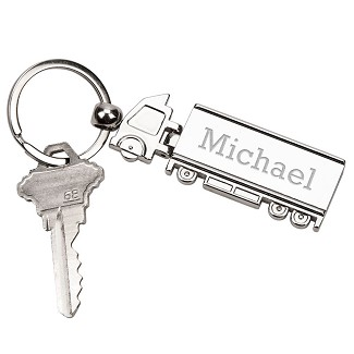 Personalized Silver Truck Key Chain