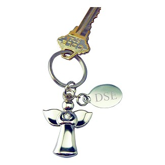 Personalized Silver Angel Key Chain with Crystal & Engraved Tag