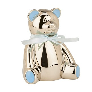 Personalized Metal Teddy Bear Bank with Blue Highlights
