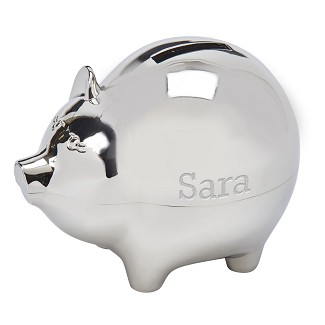 Personalized Large Polished Finish Metal Piggy Bank