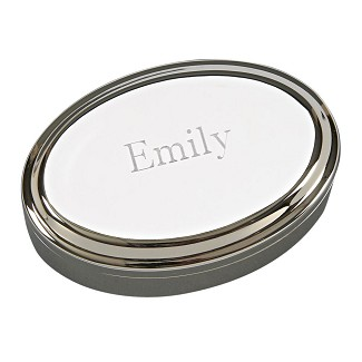 Personalized Small Oval Polished Silver Jewelry Box