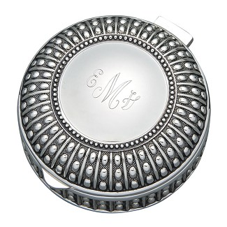 Personalized Small Round Antique Beaded Jewelry Box