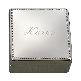 Personalized Square Silver Jewelry Box with Beaded Border