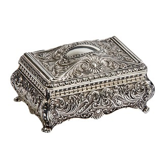 Personalized Ornate Footed Antique Silver Jewelry Box