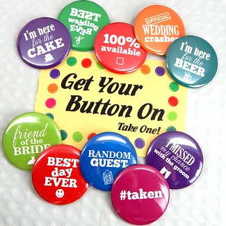 "Fun ""Wedding Talk"" Buttons (Set of 24)"