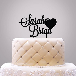 Personalized Names with Heart Cake Topper