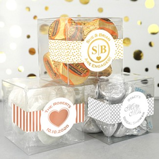 "Personalized Metallic Foil Clear Favor Boxes (2"" x 2"" x 2"")"