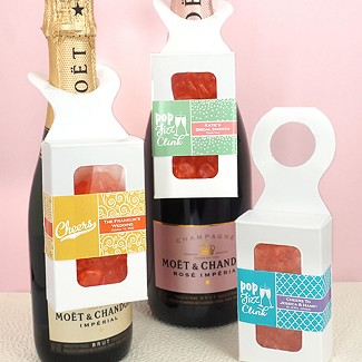 Personalized Gummy Bear Bottle Hanger Box - Champagne Flavor