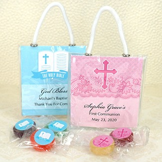 Personalized Religious Life Savers Candy  Mini Gift Tote Favors