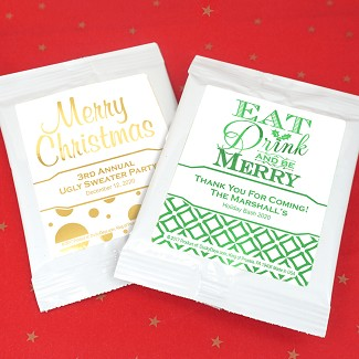 Holiday Metallic Foil Personalized Cocoa Favors