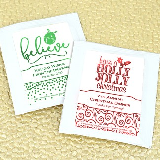 Holiday Metallic Foil Personalized Tea Favors