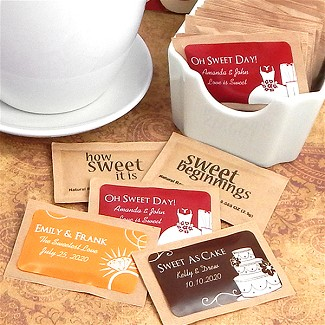 Personalized Natural Raw Sugar Packets - Silhouette Collection (Set of 100)