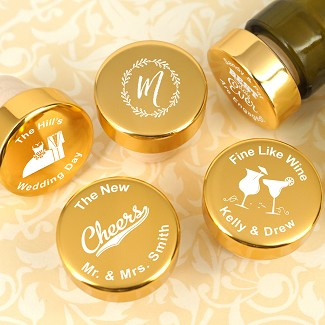 Personalized Gold Aluminum Top Bottle Stopper