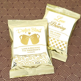 Personalized Metallic Foil Coffee Favors (Gold)