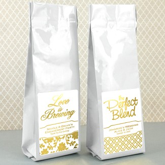 Personalized Metallic Foil Gourmet Coffee Favors (Tall Bag)