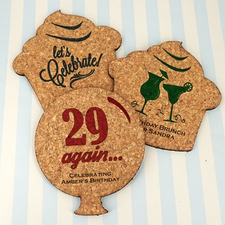 Personalized Adult Birthday Theme Shaped Cork Coaster