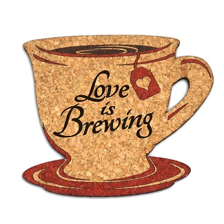Love is Brewing Tea Cup Cork Coaster Wedding Favors (Set of 4)