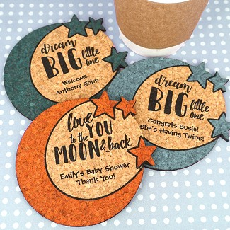 Personalized Baby Moon & Stars Cork Coaster