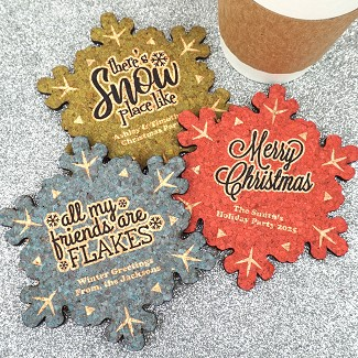 Personalized Snowflake Cork Coaster