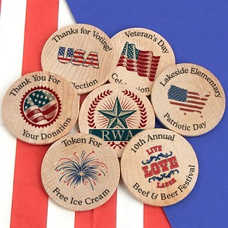 Personalized Patriotic Wooden Nickels