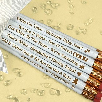 Engraved Personalized Baby Shower Pencils - White (Set of 12)