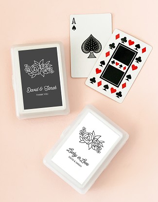 Personalized Floral Silhouette Playing Cards