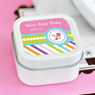 Sweet Shoppe Party Personalized Square Candle Tins
