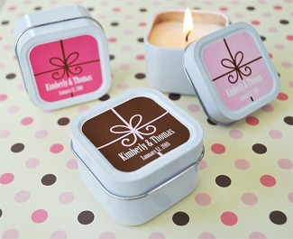 Personalized Square Gift Box Candle Tins