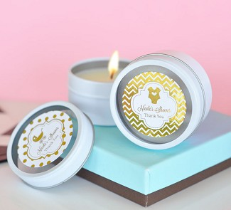 Personalized Metallic Foil Round Candle Tins - Baby Shower
