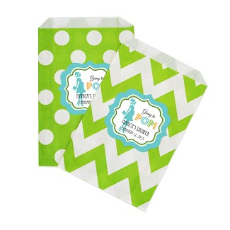 Personalized Going to Pop - Blue Chevron & Dots Goodie Bags (set of 12)