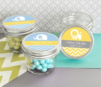 Personalized MOD Pattern Baby Shower Small 4 oz Mason Jars