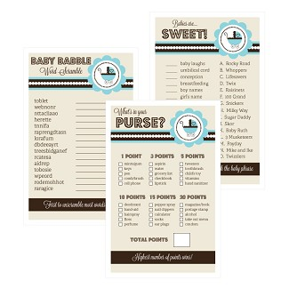 Baby Shower Games (Set of 10) - Blue Baby Shower