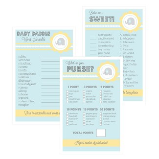 Baby Shower Games (Set of 10) - Blue Elephant