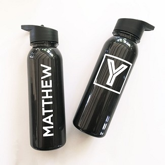 Personalized Black Sports Bottles
