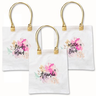 Personalized Watercolor Tote Bag