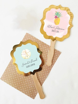 Personalized Tropical Beach Gold Paddle Fans