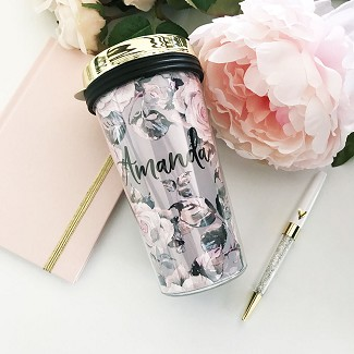 Personalized Rose Garden Coffee Travel Tumbler - Gold Lid