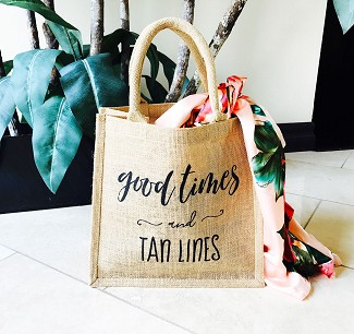 """Good Times and Tan Lines"" Burlap Tote Bag"