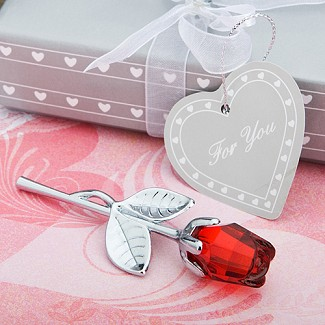 """Choice Crystal Collection"" Red Rose Favors"