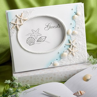 """Finishing Touches Collection"" Beach Themed Wedding Guest Book"