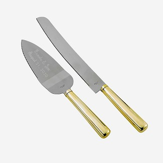 Engraved Two Tone Gold Elegance Cake Server and Knife Set