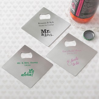 Wedding Favors Coaster.Personalized Stainless Steel Coaster And Bottle Opener Wedding Favor