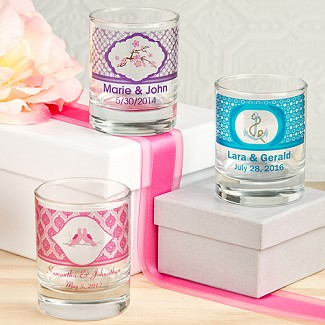 """Clearly Custom"" Personalized Round Shot Glass / Votive Candle Holder"