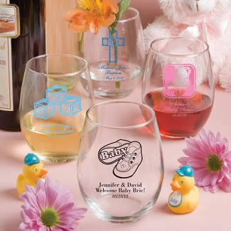 Personalized 15 oz. Stemless Wine Glasses Baby Shower Favors